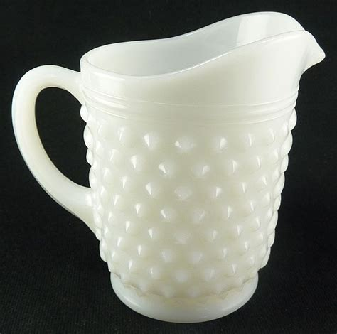 vintage white hobnail milk glass l white vintage small juice pitcher hobnail milk glass