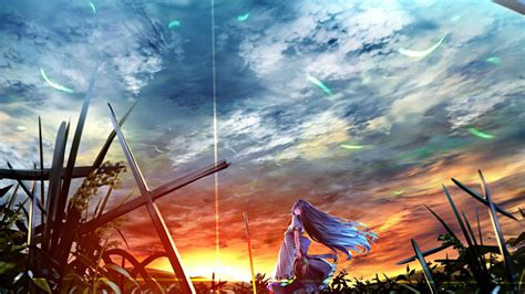 anime girl sunset hd wallpaper mthemes