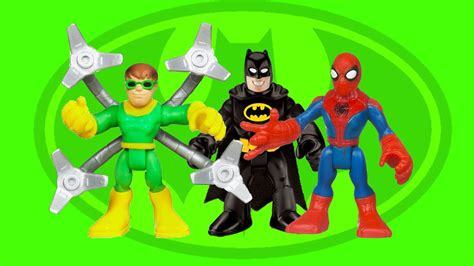 spiderman   ock saves batman imaginext batcave toys