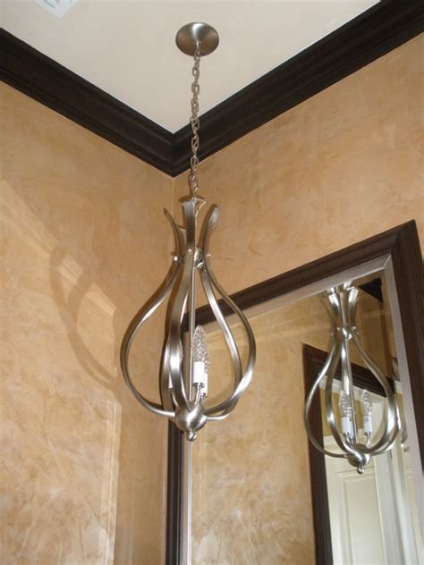 venitian plaster in powder room pendant light in bathroom