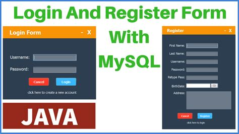 java login and register form with mysql database c java php programming source code