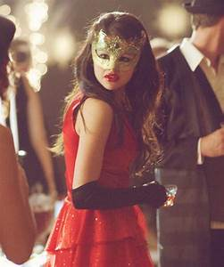 Masquerade -- Love the bright red dress and gold mask ...