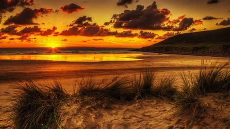 beach sunset hd wallpaper background image
