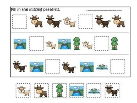 three billy goats gruff activities for preschool three billy goats gruff themed missing pattern preschool 513