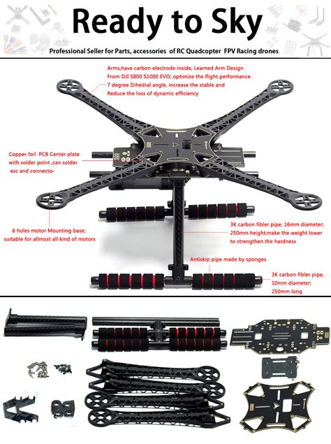 amazoncom readytosky  quadcopter frame stretch  fpv drone frame kit pcb version
