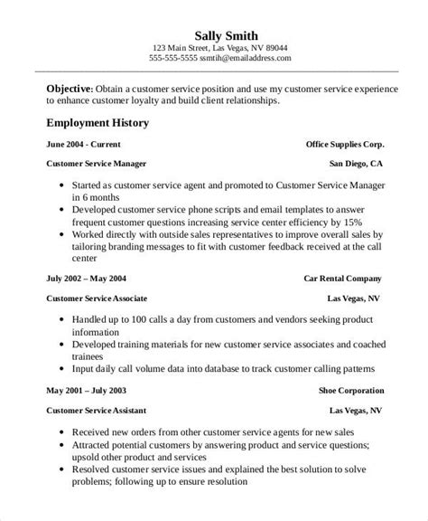 Customer Service Objective Resume Exle by Professional Customer Service Associate Resume Template