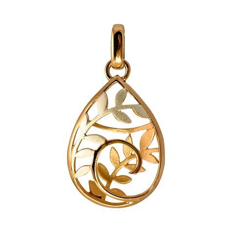 Sterling/Rose Gold Plate Koru & Fern Pendant - Gold n ...