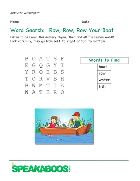 Row Row Your Boat Worksheet by Word Search Row Row Row Your Boat Speakaboos Worksheets