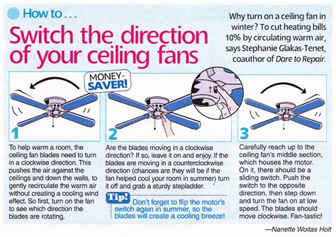 Ceiling Fan Spin Direction For Summer by To Repair