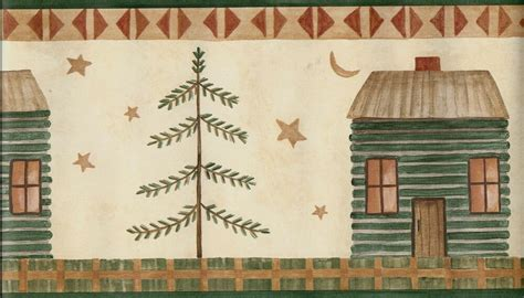 country primitive  cabin tree stars  moon green