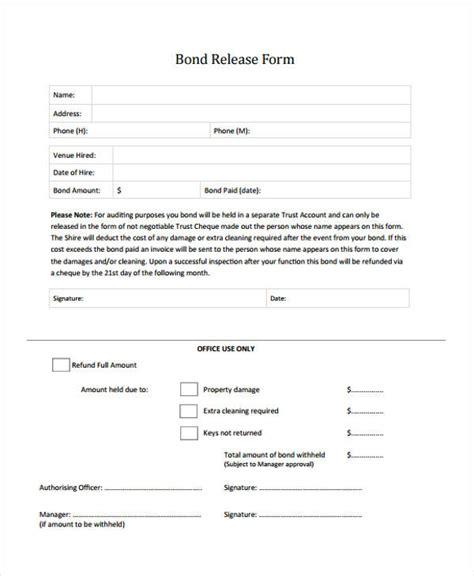 bond claim form 9 bond release forms free sle exle format download