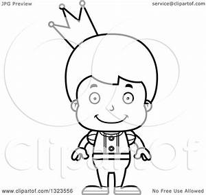 Lineart Clipart of a Cartoon Black and White Happy Boy ...