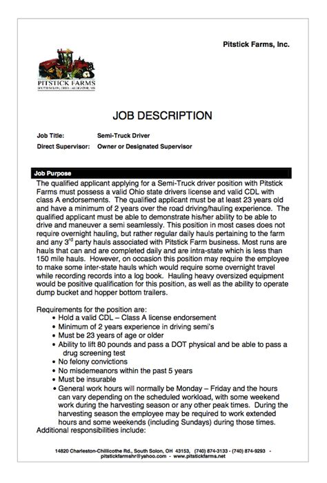 Driver Description Resume by Semi Truck Driver Description Resumes Design