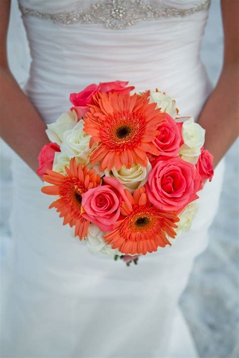 Bouquet Of Pink And White Roses With Lovely Coral Gerbera