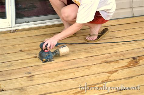 sanding a deck how to strip a deck infarrantly creative