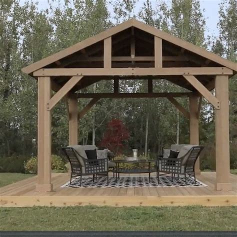 Outdoor Tubs For Sale by Outdoor Wooden Gazebo 14x12 Pavilion Metal Roof For Patio
