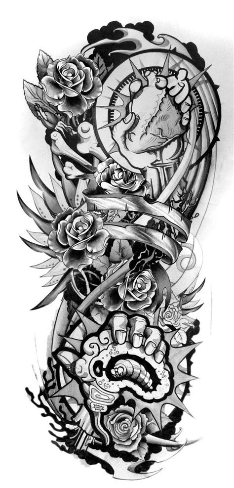 sleeve tattoo designs drawings  paper design sleeve tattoo  tattoos pinterest sleeve