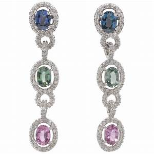 Unique Multicolor Sapphire Diamond Drop Earrings For Sale ...