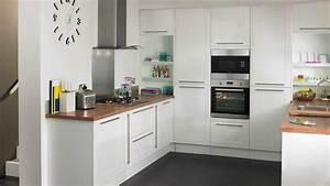 Cuisine Blanche Plan De Travail Gris : cuisine blanche plan de travail bois 4 montfort gris ~ Melissatoandfro.com Idées de Décoration