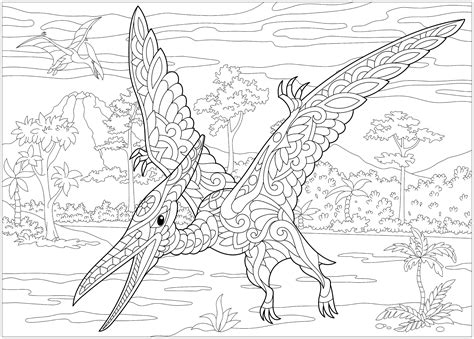 pterodactyl dinosaurs adult coloring pages