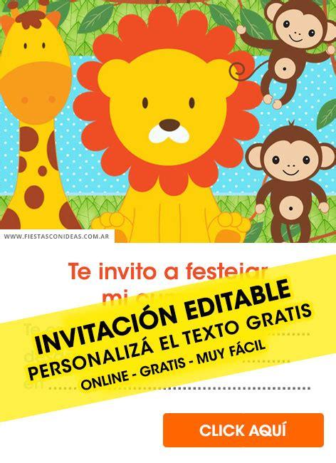 8 invitaciones de animalitos de la selva gratis free para editar personalizar e imprimir