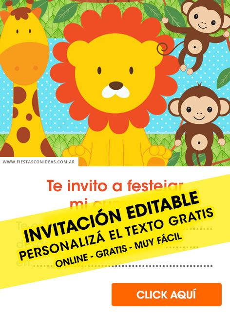 invitaciones de animalitos de la selva gratis