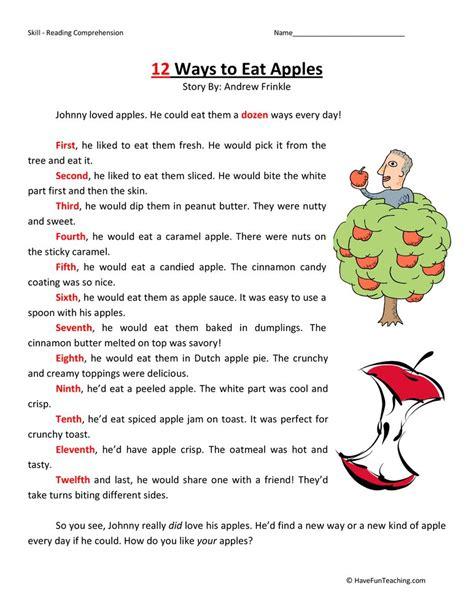 reading comprehension worksheet 2nd grade kidz activities