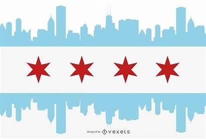 Chicago Bandera Silueta Flag Ciudad Silhouette Vexels