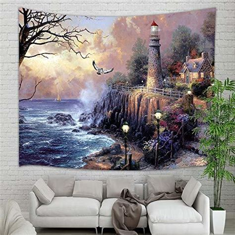 kotom lighthouse tapestry wall hanging painting lighthouse by ocean coast with tapestries