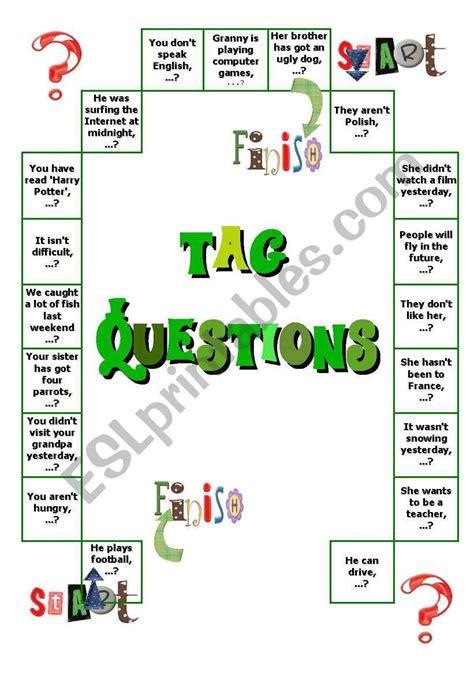 Tag questions boardgame - ESL worksheet by aksjomaty   Tag ...