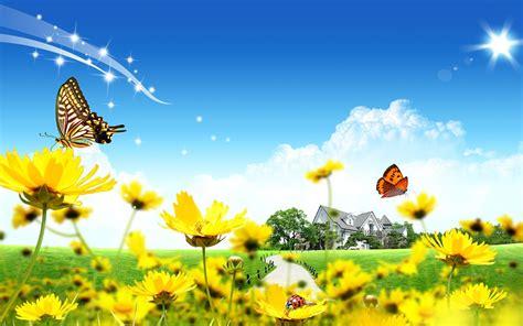 va farm bureau wiosna żółte kwiatki motylki biedronka grafika 2d