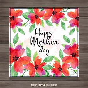 Cute watercolor flowers mother's day card Vector   Free ...
