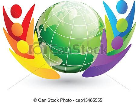 happy figures  globe logo vector