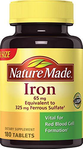 Nature Made Iron 65 mg. (from Ferrous Sulfate) Tablets 180