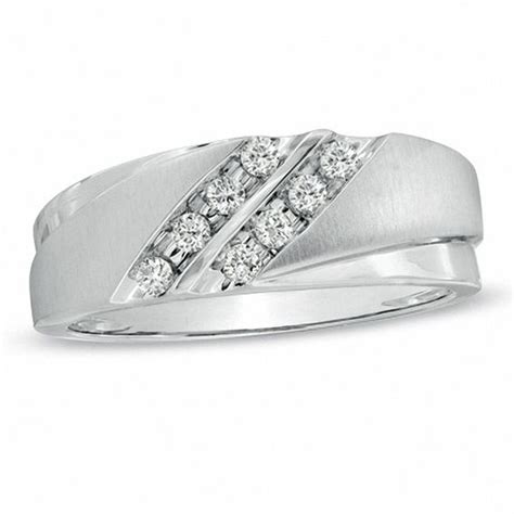 men s 1 5 ct t w diamond grooved wedding band in 10k white gold wedding bands wedding zales
