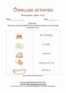 missing letters spelling worksheet with food names With photo letters spelling names