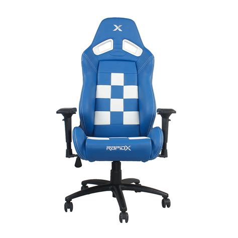 gaming chair blue white rapidx touch of modern