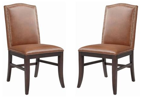 maison cognac leather dining chair set of 2 from sunpan