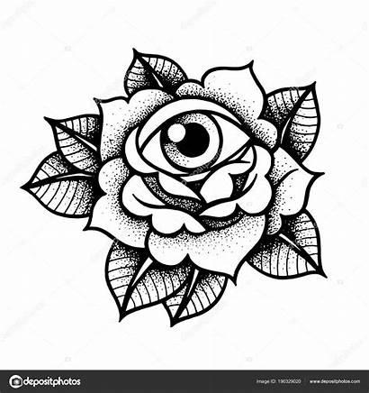 Tattoo Rose Flash Rosa Ojo Tatuaje Grey