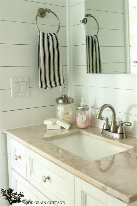 plank wall bathroom powder bathroom plank walls a sneak peak the wood grain cottage