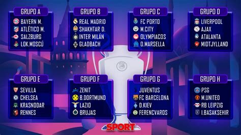 Champions League 2020-21 group stage draw results