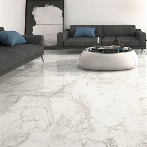 Wall Floor Tiles by Large Format Luni Blanco Polished Porcelain Rectified