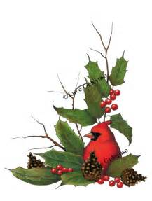 Holly and Pine Cone Clip Art