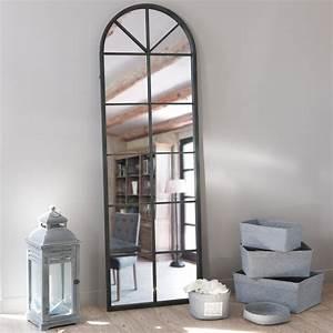 Miroir En Mtal Noir H 180 Cm ACHILLE Maisons Du Monde