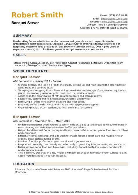Banquet Server Resume by Banquet Server Resume Sles Qwikresume
