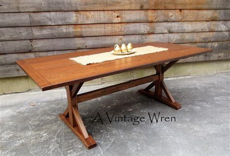 hand  wooden  style trestle table farm table