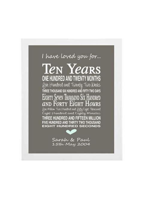 10th anniversary gifts 10th anniversary gift personalised anniversary print anniversary present typographic 10th