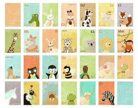 Animal Alphabet Large Print  Children's Wall Art Print