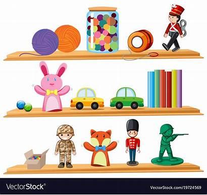 Toys Books Wooden Shelves Vector Royalty