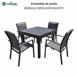 Salon De Jardin 4 Places : salon de jardin modulo 4 8 places gris anthracite ~ Farleysfitness.com Idées de Décoration